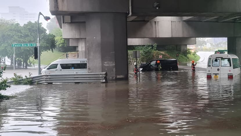 SCDF evacuates 5 people after vehicles were stuck in flash floods at Pasir Ris; 1 person taken to hospital