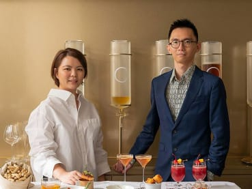 The couple serving chwee kueh, laksa and teh tarik in their Taipei cafe