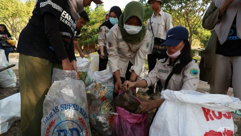 Thousands of Indonesians hit the beach in mass trash pick-up