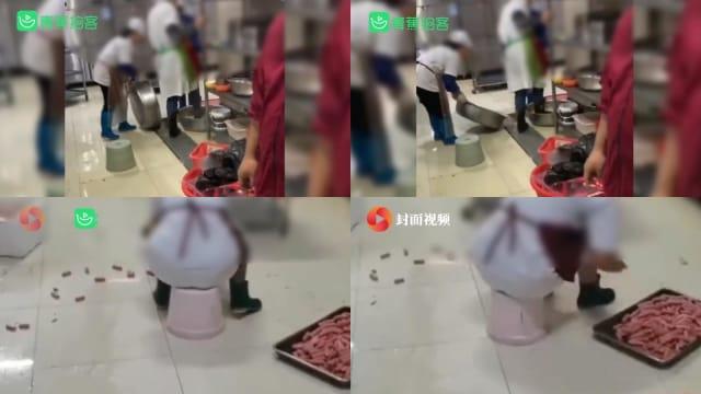 武汉食堂员工用脚洗菜   档口终止服务人员遭裁