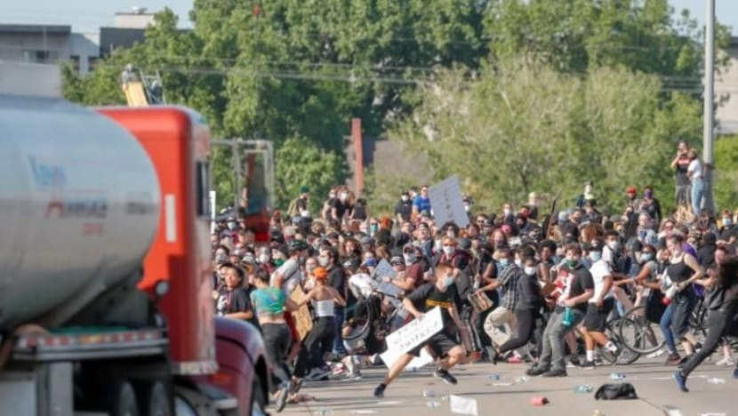 Tanker truck drives into protesters on Minneapolis highway, driver arrested