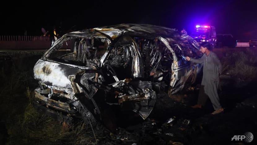 13 killed in van fire on highway in southern Pakistan
