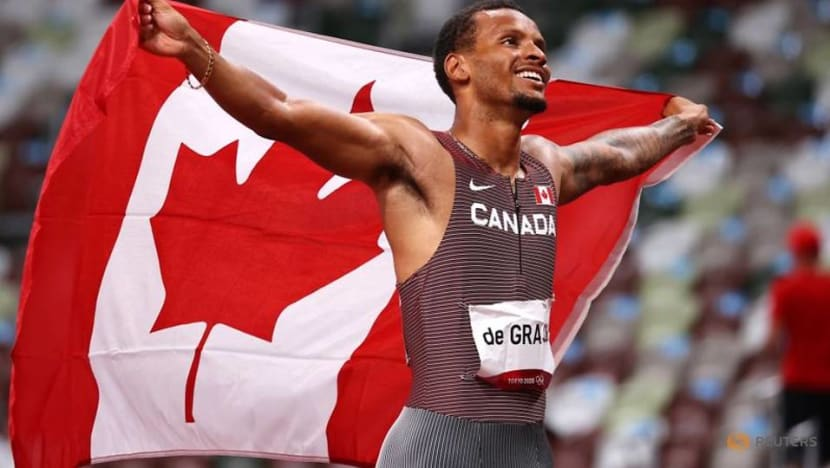 Olympics-Athletics-Gold for De Grasse, another huge 400m hurdles record