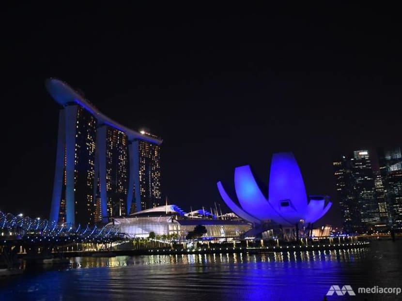 Singapore skyline turns blue to commemorate World Water Day