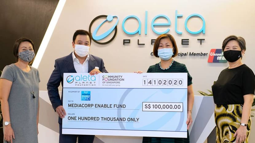 Fintech firm Aleta Planet's new foundation donates S$100,000 to Mediacorp Enable Fund in support of elderly, children