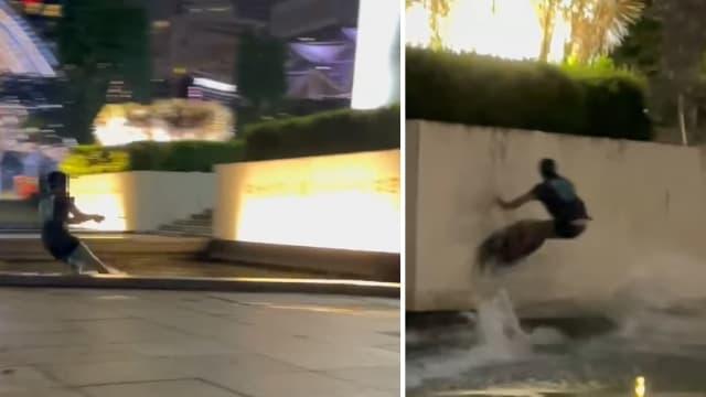 男子在纪念碑公园滑水 网民:以为是自家泳池!