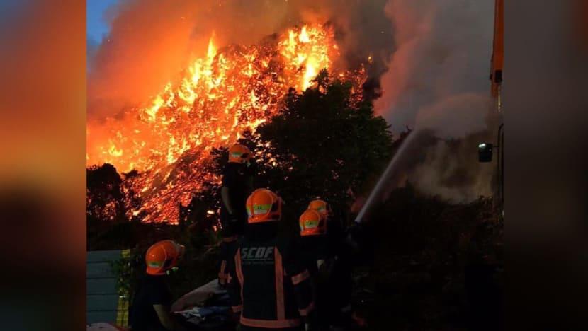 50 firefighters battling blaze at Sungei Tengah