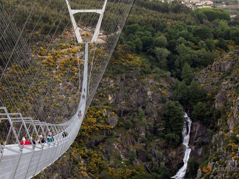 High anxiety: World's longest pedestrian suspension bridge opens in Portugal