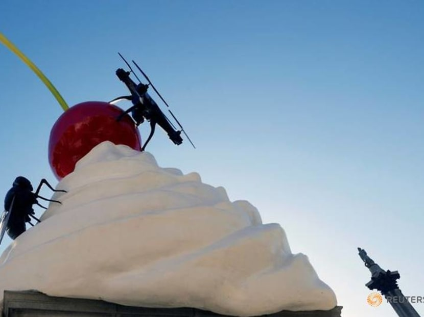 Giant cherry with cream, fly and drone unveiled on London's Fourth Plinth