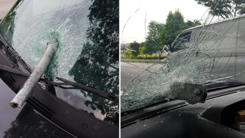 Man taken to hospital after metal pole smashes through van windscreen along TPE