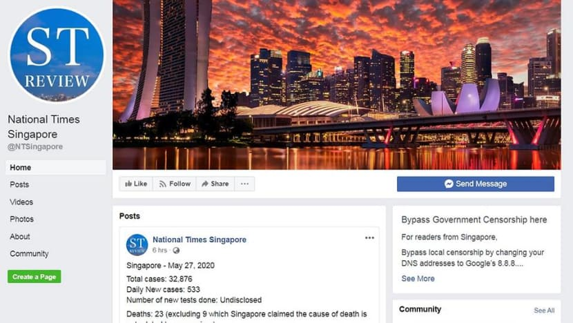 Government orders Facebook to disable Singapore users' access to National Times Singapore Facebook page