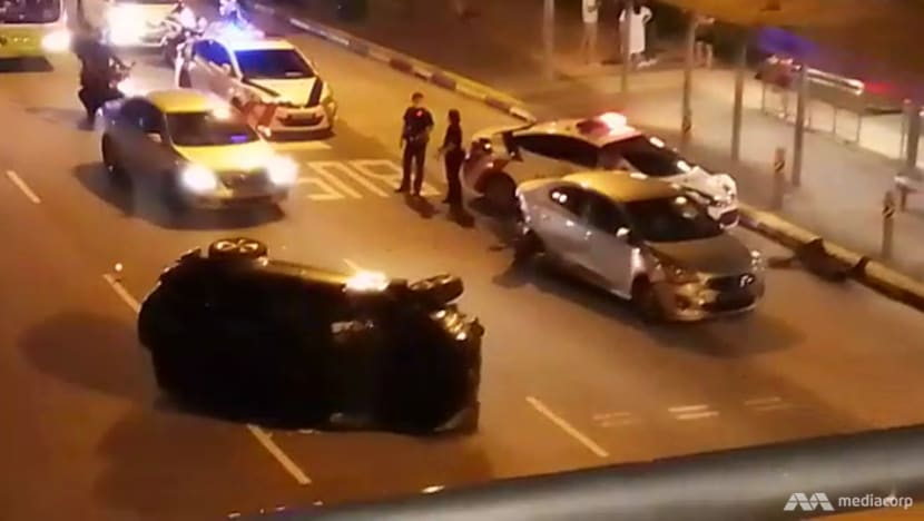2 taken to hospital after accident involving 3 cars and a taxi along Punggol East Road