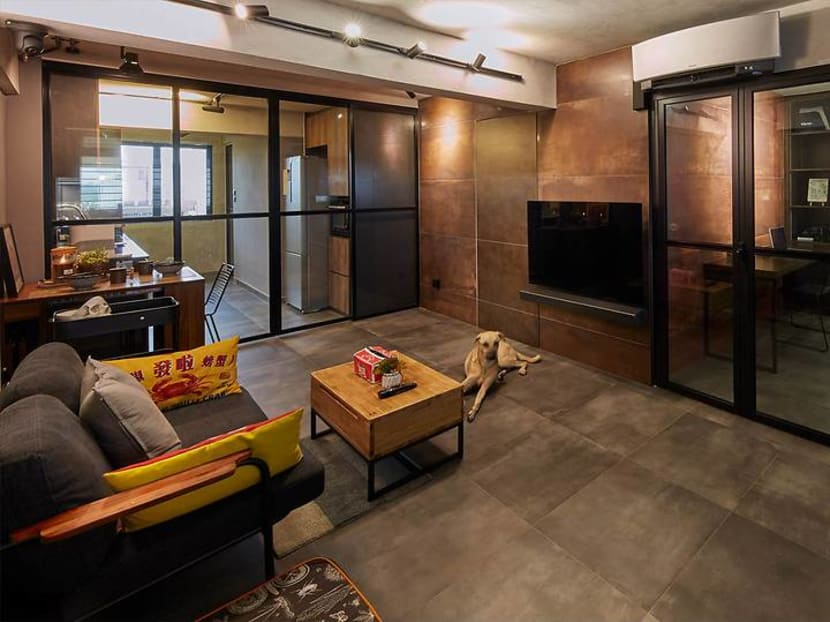 How a 700 sq ft industrial chic HDB flat managed to include a walk-in wardrobe