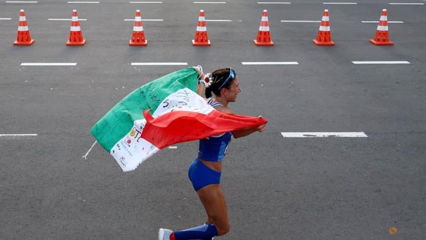 Olympics-Athletics-Italy's Palmisano wins women's 20km race walk