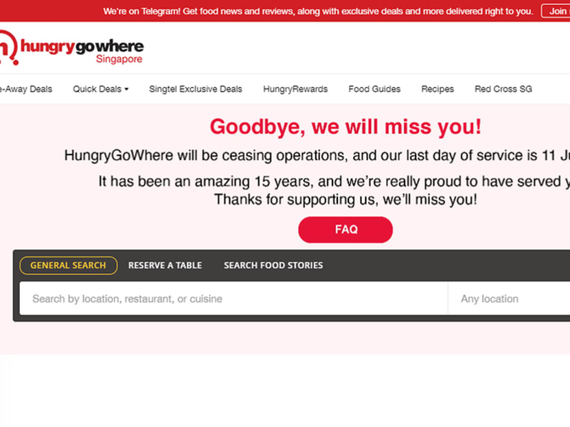 Singtel-owned F&B portal HungryGoWhere to cease operations after 15 years