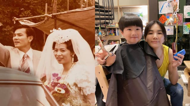 晒父母结婚旧照 Ella:劲宝是隔代遗传
