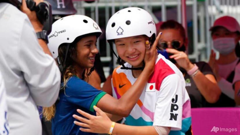 Japan's Nishiya, 13, becomes first women's Olympic skateboarding champion