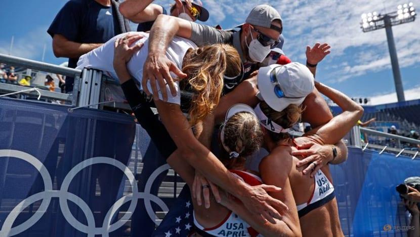 Olympics-Sun bakes volleyball sands as Belarus feels IOC heat