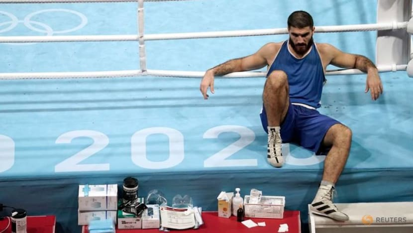 Olympics-Boxing-France's Aliev protests with sit-in after disqualification