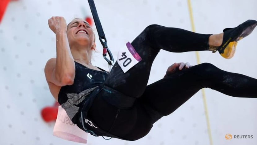 Olympics-Climbing-Poland's Miroslaw takes women's speed lead, nearly matches world record