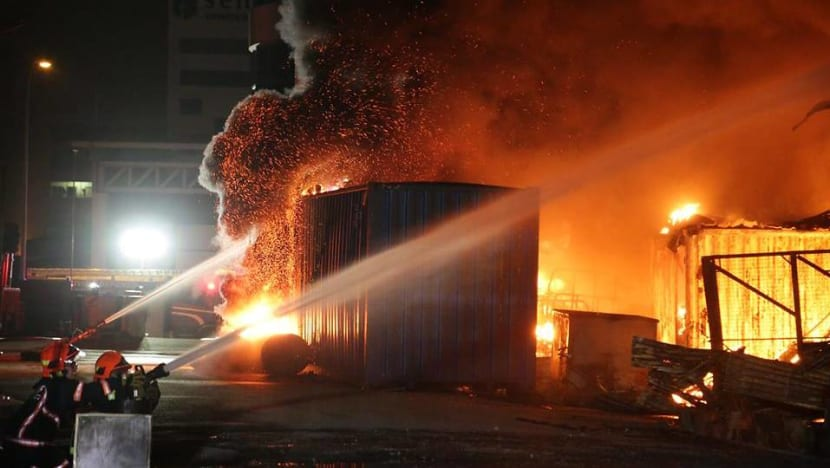 Fire breaks out at furniture warehouse in Sungei Kadut