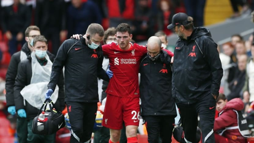 Football: Liverpool defender Robertson out with ligament damage