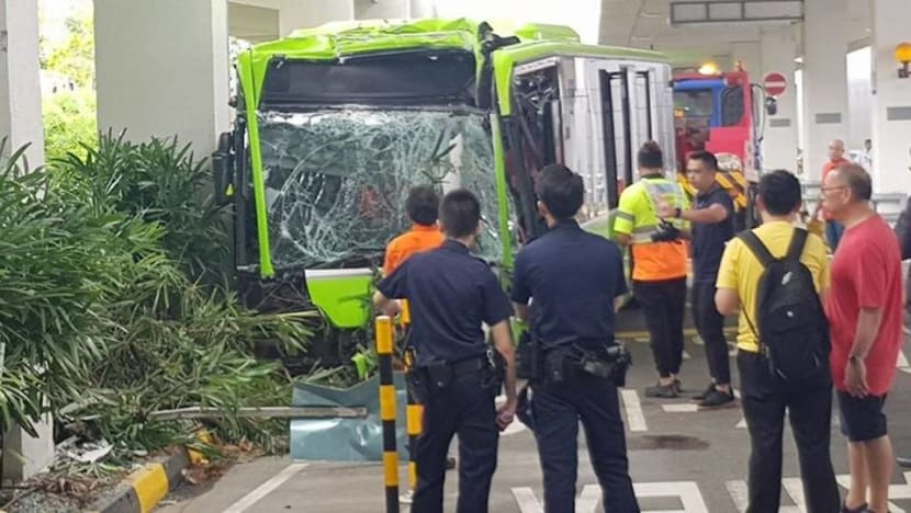 Bus driver trapped, 6 passengers injured after accident at Changi Airport bus interchange