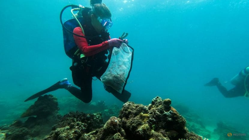 Philippine divers clear plastic waste from corals for World Cleanup Day