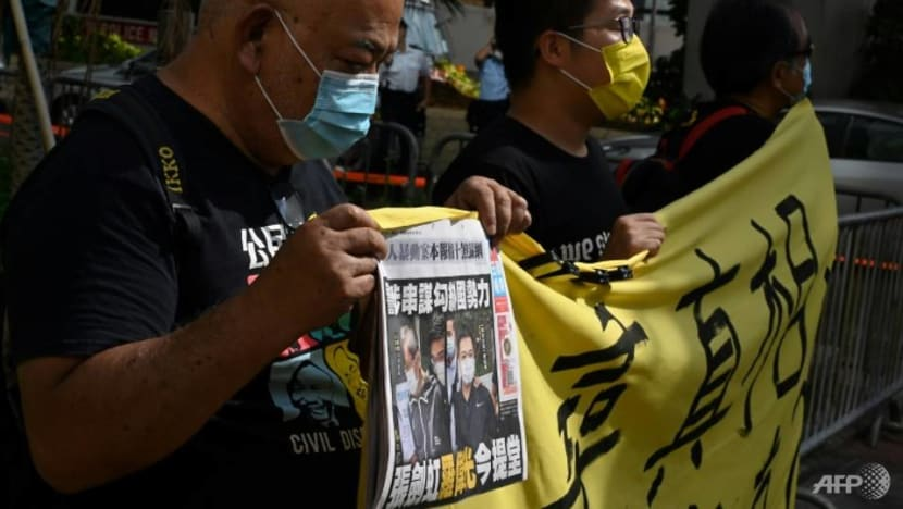 Crowds gather for hearing of two Apple Daily executives on national security charge