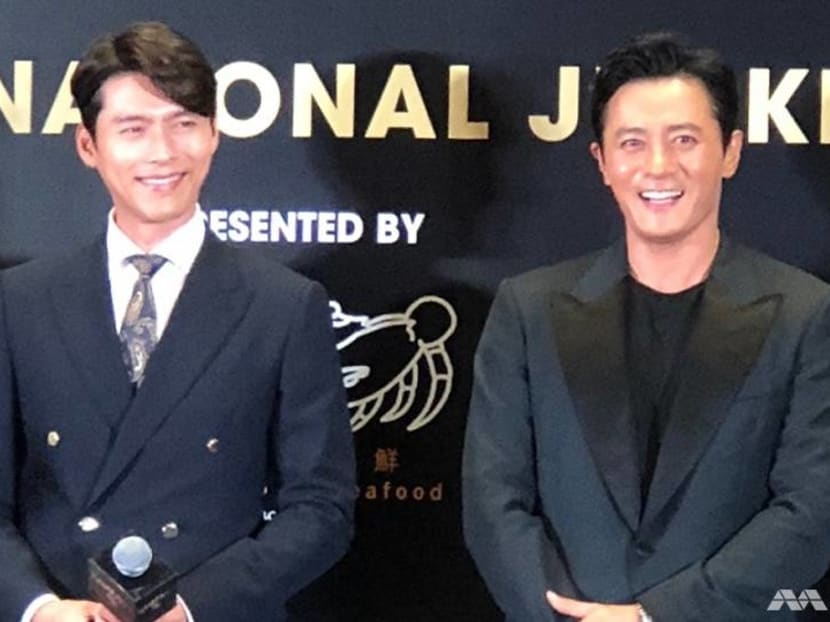 Korean stars Hyun Bin, Jang Dong-gun in Singapore for Rampant gala premiere