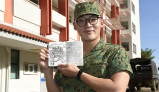 On an island with no photo-taking, a soldier sketches his daily life in basic military training