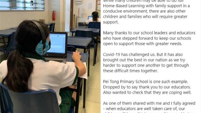 部分学生返校学习 陈振声感谢教育工作者提供援助
