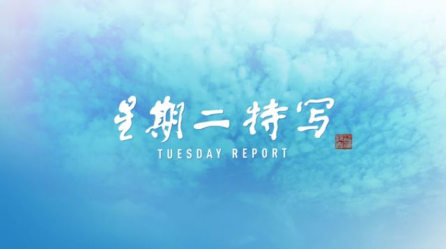 Tuesday Report thumbnail against a sky of blue clouds