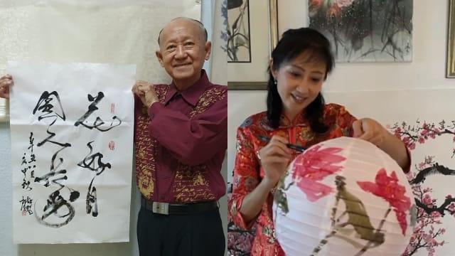 欢庆中秋节 本地书画家线上示范灯笼绘画