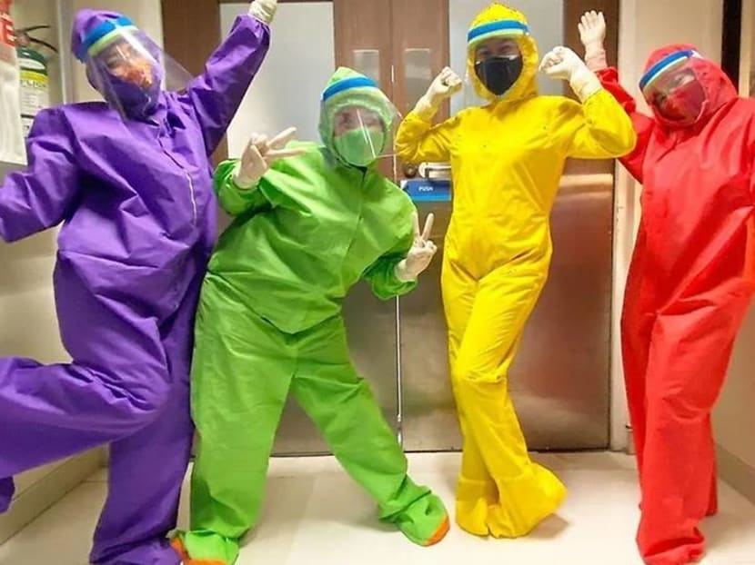Eh oh! The Teletubbies healthcare workers are here in their self-made suits