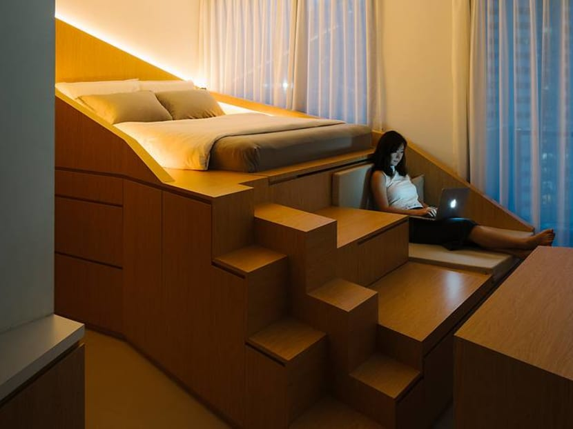 A 460 sq ft studio apartment with a literal out-of-the-box space-saving design