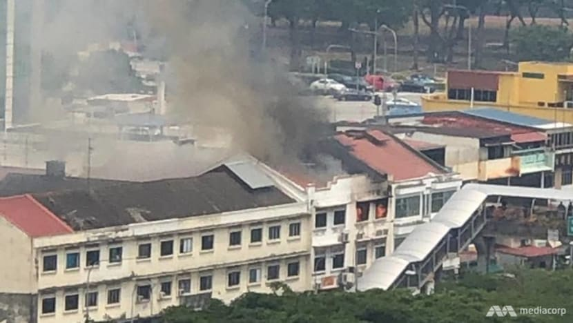 Fire breaks out at Geylang shophouses