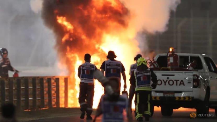 Formula One: Romain Grosjean escapes horrific first lap crash in Bahrain Grand Prix
