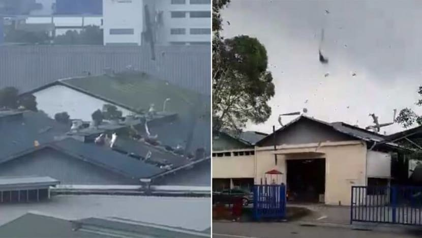 Singapore's first recorded landspout damages roofs in Tuas
