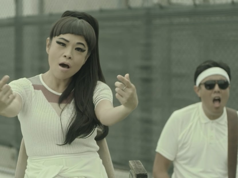 Actress Pam Oei and her band play tennis to smash bigotry in new music video