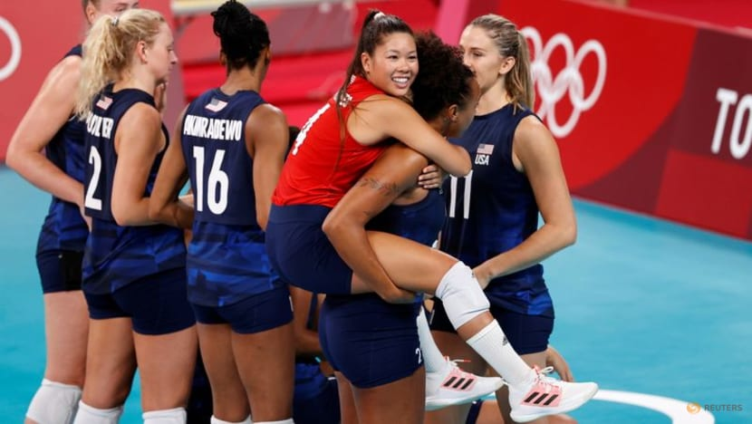 Olympics-Volleyball-US set up final with Brazil by beating Serbia