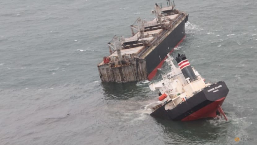 Ship sailing under Panama flag runs aground in northern Japan, splits in two
